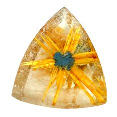 Faceted 10.10cts half star rutile golden 17x15 mm trillion loose gemstone s12924