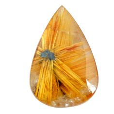 Faceted 9.35cts half star rutile golden 18.5x12.5 mm pear loose gemstone s12931