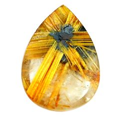 Faceted 10.15cts half star rutile golden 18x13 mm pear loose gemstone s12914