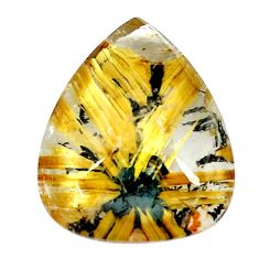 Faceted 11.30cts half star rutile golden 18x15 mm pear loose gemstone s12915