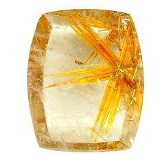 Faceted 13.45cts half star rutile golden 19x15 mm octagan loose gemstone s12929