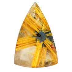 Faceted 9.45cts half star rutile golden 21x13 mm trillion loose gemstone s12910