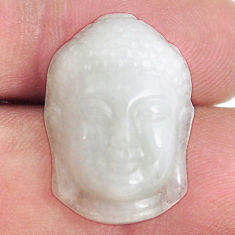 16.30cts milky quartz white carving 22x15 mm buddha loose gemstone s13240