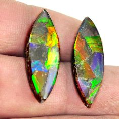 Natural 17.40cts ammolite triplets multicolor 27x9 mm pair loose gemstone s13481