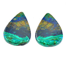 Natural 24.45cts azurite malachite green pair 21.5x16 mm loose gemstone s11240