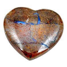 Natural 33.45cts boulder opal brown 26x27 mm heart loose gemstone s12824