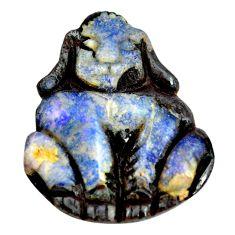 Natural 22.40cts boulder opal carving brown 26.5x22 mm loose gemstone s14168