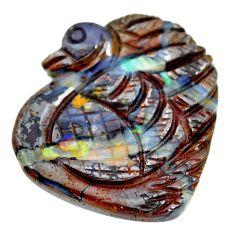 Natural 27.35cts boulder opal carving brown 29x28 mm fancy loose gemstone s14108