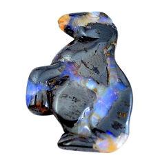 Natural 33.45cts boulder opal carving brown 32x23 mm fancy loose gemstone s10529