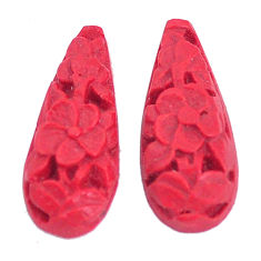 Natural 3.45cts cinnabar spanish pair carving 17.5x7.5 mm loose gemstone s9970