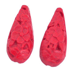 Natural 3.45cts cinnabar spanish red carving 18x7.5mm pair loose gemstone s9969
