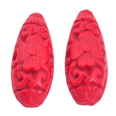 Natural 5.10cts cinnabar spanish red carving 22x9 mm pair loose gemstone s9964