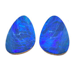 Natural 7.40cts doublet opal pair blue 18x12 mm loose gemstone s11169