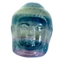 Natural 32.40cts fluorite carving 23.5x17 mm buddha face loose gemstone s10105