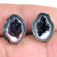 Natural 14.45cts geode druzy black pair 16.5x12 mm fancy loose gemstone s11638