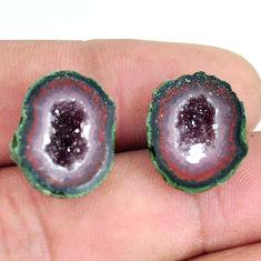 Natural 23.25cts geode druzy black pair 16.5x13.5 mm fancy loose gemstone s11632