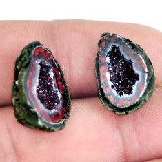 Natural 19.45cts geode druzy black pair 17.5x12 mm fancy loose gemstone s11616