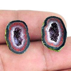 Natural 21.25cts geode druzy black pair 17x12.5 mm fancy loose gemstone s11640