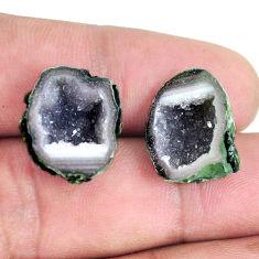 Natural 20.10cts geode druzy black pair 17x13 mm fancy loose gemstone s11626