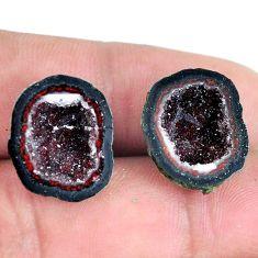 Natural 22.40cts geode druzy black pair 17x14 mm fancy loose gemstone s11637
