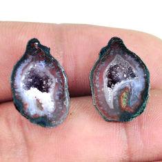 Natural 19.20cts geode druzy black pair 18.5x12 mm fancy loose gemstone s11627