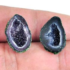 Natural 17.40cts geode druzy black pair 18.5x12 mm loose gemstone s11601