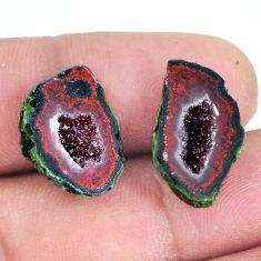 Natural 16.45cts geode druzy black pair 18x11 mm fancy loose gemstone s11622