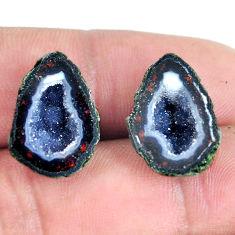 Natural 18.45cts geode druzy black pair 18x12.5 mm fancy loose gemstone s11602
