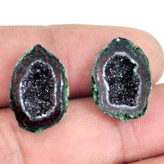 Natural 16.20cts geode druzy black pair 18x12.5 mm fancy loose gemstone s11635