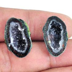 Natural 23.45cts geode druzy black pair 20x13.5 mm fancy loose gemstone s11611