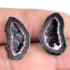 Natural 18.45cts geode druzy black pair 21x12 mm fancy loose gemstone s11609