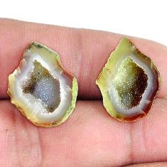 Natural 19.45cts geode druzy brown pair 20x15 mm fancy loose gemstone s11615