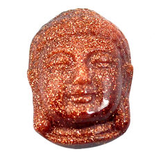 Natural 16.30cts goldstone brown carving 22x15 mm buddha loose gemstone s13221