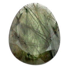 Natural 12.40cts green rutile faceted 16x21 mm oval loose gemstone s13078