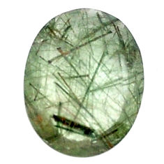 Natural 11.30cts green rutile faceted 20x15 mm oval loose gemstone s13065