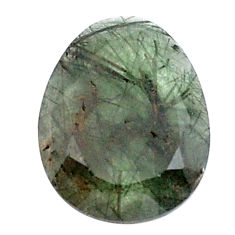 Natural 12.40cts green rutile faceted 20x16 mm oval loose gemstone s13080