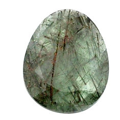 Natural 13.45cts green rutile faceted 21x16 mm oval loose gemstone s13070