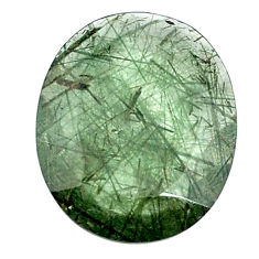Natural 19.45cts green rutile faceted 25x20 mm oval loose gemstone s13063