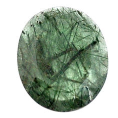 Natural 17.40cts green rutile faceted 25x20 mm oval loose gemstone s13069