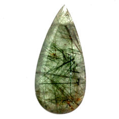 Natural 21.30cts green rutile faceted 36x17 mm pear loose gemstone s13061