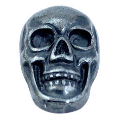 Natural 16.30cts hematite black carving 18x12 mm skull loose gemstone s10008