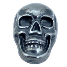Natural 14.45cts hematite black carving 18x12 mm skull loose gemstone s10010