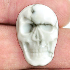 Natural 16.30cts howlite white 22.5x15 mm skull face loose gemstone s13261