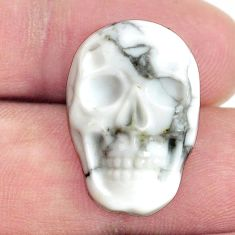 Natural 17.40cts howlite white 22.5x15 mm skull face loose gemstone s13264