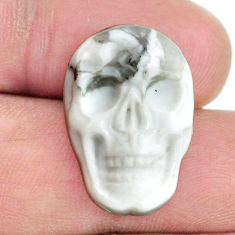 Natural 17.40cts howlite white 22x15 mm skull face loose gemstone s13263