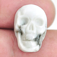 Natural 8.25cts howlite white carving 17.5x12mm skull face loose gemstone s13320