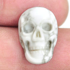 Natural 8.25cts howlite white carving 18x12 mm skull face loose gemstone s13311