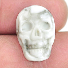 Natural 23.45cts howlite white carving 18x12 mm skull face loose gemstone s13312