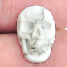 Natural 8.35cts howlite white carving 18x12 mm skull face loose gemstone s13318