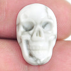 Natural 8.40cts howlite white carving 18x12 mm skull face loose gemstone s13319